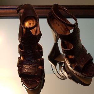 Nine West Brown Leather Heels